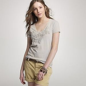 J. Crew | Cream Floral Embroidered Spray Art Tee S
